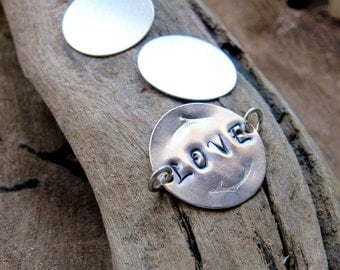 Personalized Disc Connector - Word / Letter Charm - Sterling Silver Hand Stamped Initial Disc 3/4 inch for bracelet, necklace, pendant.