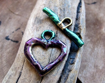Heart Toggle Clasp - Luxury Enameled Clasp for Necklace, Bracelet - Bronze Jewelry Supplies - Purple Closure - Handmade Claps - Colored