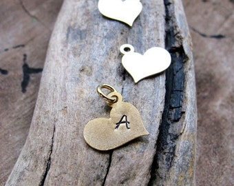Add Initial Heart Letter Charm - Personalized Gold Plated Monogram Charm - Silver Hand Stamped Pendant - Heart Pendant - Heart Charms Hearts