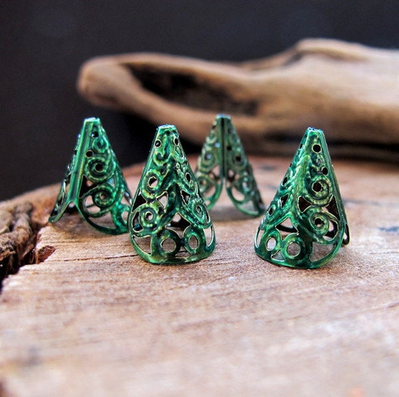 Enameled Filigree Bead Caps. Antique Bronze Filigree Bead Caps set. 17mm long bead caps - Cone Bead Caps - Filigree Caps for Pearls, Beads