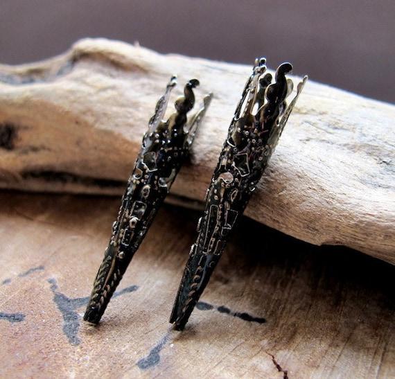 Enameled Black Antique Bronze Bead Cap. Long Filigree Bead Caps. Trumpet Cone Bead Caps 40mm