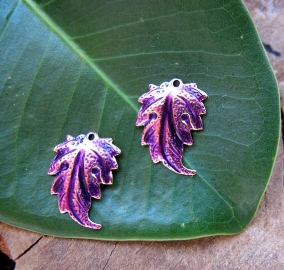 Purple Leaf Dangle Earrings Findings. Enameled Leaves Charms. Handmade Brass Plated Flower. Leaf Charms. Leaves Dangles for Earrings