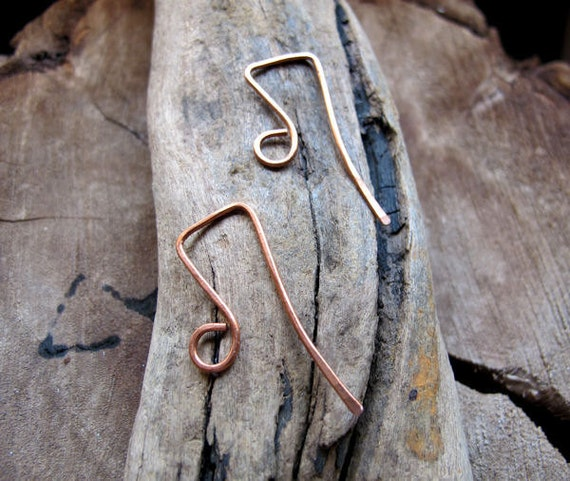 Copper Rectangle Ear Wires - Artisan Earwires Earrings supplies - Top Square Hook Ear Wires jewelry / Geometric Ear Wires Handmade Earwires