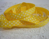 Daffodil Yellow with White Dots Grosgrain Ribbon 5/8 inch - 3 Yards for scrapbooking, cards, sewing embellishment