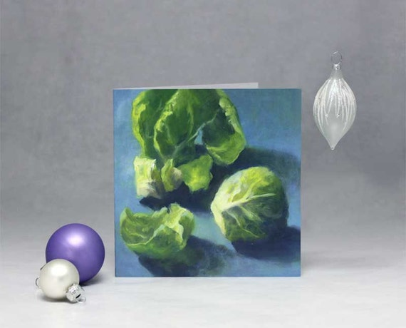 Sprout - blank holiday christmas card - art card of oil painting still life of brussel sprouts