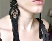 Lace Earrings  - Victorian Earrings - Vintage Inspired Earrings - Burlesque Costume - Fringe Earrings - Statement Earrings