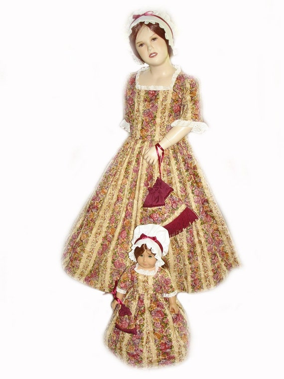 Custom Boutique Historical American Girl Colonial FELICITY Traveling Gown Girl and Matching 18inch Doll Costume Dress Set