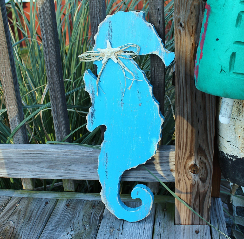 Etsy Coastal Wall Decor : Seahorse wooden wall art nautical beach or nursery decor