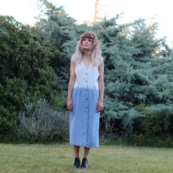 Dip Dye Plaid Summer Jumper Dress - Large Size 12