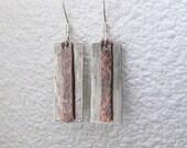 Silver Tab Earrings Multi Metal Earrings Copper Hammered Earrings Copper Silver Earrings Hammered Copper Tab Stick Rustic Earrings
