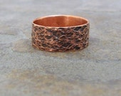 Copper Hammered Ring Oxidized Reptile Band Wedding Ring Wedding Band