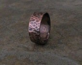 Mens Copper Ring Hammered Wedding Band Wedding Ring Rustic Wedding Ring