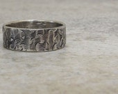 Hammered Silver Ring Distressed Circles Wedding Band Rustic Men's Wedding Ring