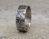 Mens Rustic Wedding Band Wedding Ring Hammered Silver Ring - 8mm