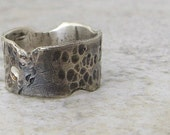 Mens Wedding Band Silver Hammered Wedding Ring Antiqued Destroyed Band- Love Is a Battlefield