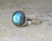 Labradorite Silver Ring Rose Cut Solitaire Ring Cocktail Ring Engagement Ring