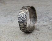 Mens Wedding Band Silver Rustic Wedding Ring Distressed Rustic Wedding Bands Unique Wedding Rings Engraved Personalized Rings by SilverSmack