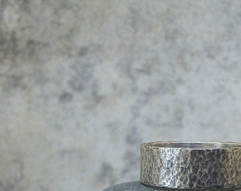 Distressed Men's Wedding Band Silver Hammered Ring Mens Wedding Ring Rustic Wedding Bands Unique Wedding Rings Rugged Rough Wedding Band