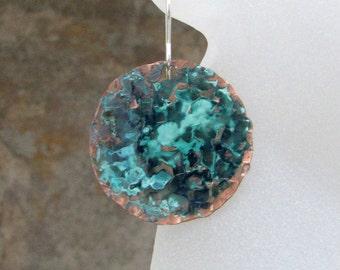 Turquoise Teal Earrings Verdigris Patina Copper Earrings Hammered Copper Earrings Rustic Teal Earrings Boho Copper Earrings Bohemenian Style