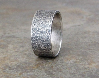 mens silver wedding band distressed wedding ring hammered silver band custom unique wedding rings engraved rustic - Wedding Rings Unique