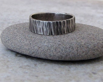 Mens Wedding Band Silver Bark Ring Hammered Rustic Wedding Rings Tree Bark Woodgrain Ring Unique Wedding Bands Gift for Him Men's Jewelry