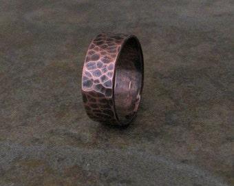 Mens Copper Ring Hammered Wedding Band Wedding Ring Rustic Wedding Ring