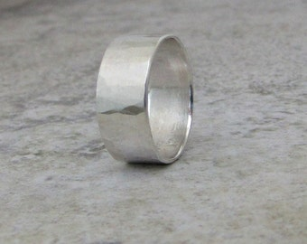 Mens Wedding Band Silver Hammered Wedding Ring Wide Rustic Wedding Bands Unique Wedding Rings Rugged Men's Ring Men's Jewelry Gift for Him