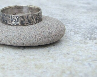 Mens Wedding Band Silver Hammered Wedding Ring Distressed Men's Ring Rustic Wedding Rings Unique Wedding Bands Men's Jewelry Gift for Him