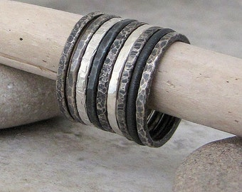 Silver Stacking Rings Textured Silver Rings Stacking Black Gray Ombre Rings Boho Sterling Silver Stackable Ring Set of Nine by SilverSmack