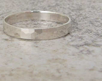 Silver Thumb Ring Hammered Silver Ring Simple Mens Wedding Ring Women's Wedding Band Rustic Wedding Bands Unique Wedding Rings Promise Ring