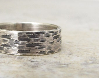 Bark Wedding Band Silver Wedding Ring Hammered Rustic Woodgrain Band Unique Wedding Rings Rustic Wedding Bands Gift for Him Dad Mens Jewelry