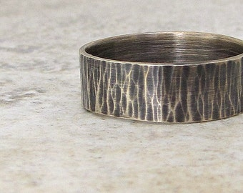 Mens Wedding Band Silver Hammered Wedding Ring Rustic Wedding Rings Unique Wedding Bands Textured Men's Ring- Rapids by SilverSmack