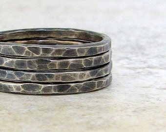 Silver Stacking Rings Hammered Silver Stacking Ring Oxidized Rustic Rings Black Ring Stack Gift for Her Modern Rough Unique Stacking Rings