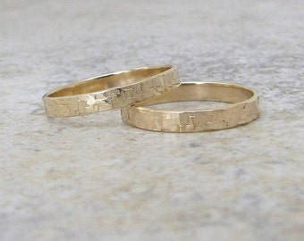 Gold Wedding Bands Hammered Gold Wedding Rings Gold Hammered Bark Rings Distressed 14K Rustic Wedding Bands Engraved Unique Wedding Rings