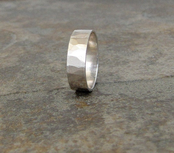 Hammered Silver Ring Wedding Band Silver Wedding Ring