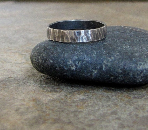 Hammered Silver Ring Rustic Wedding Ring Men's Wedding Band Antique Thin Wedding Band Rustic Wedding Bands Unique Wedding Rings Gift for Him