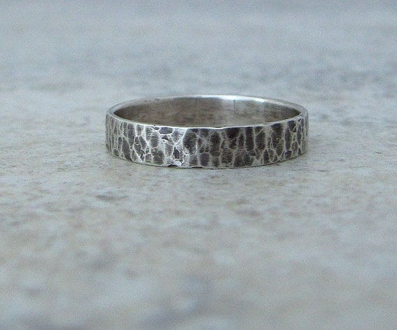 Wedding Band Hammered Silver Ring Mens Wedding Ring Distressed Silver Ring Simple Wedding Band Rustic Wedding Bands Unique Wedding Rings