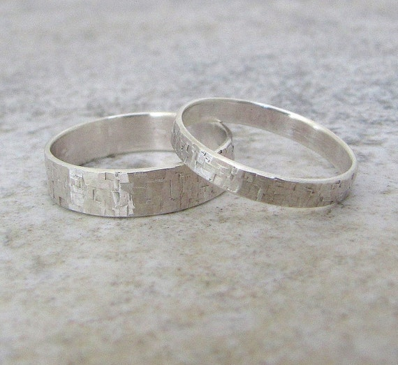 Silver Wedding Bands Set Hammered Silver Wedding Rings Distressed Squares Wedding Band