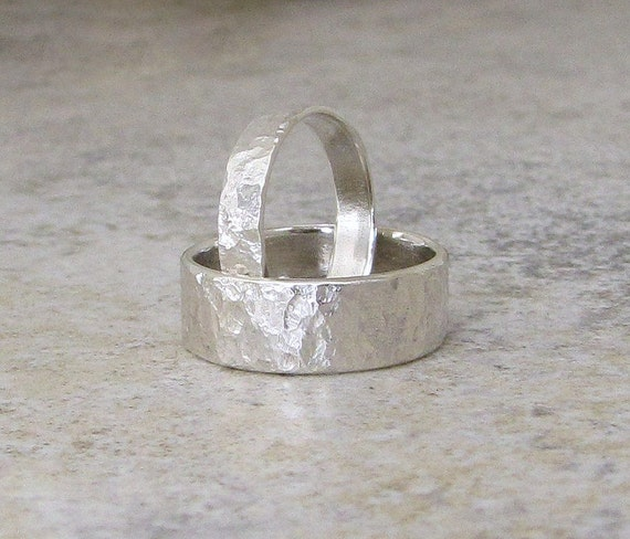 Wedding Bands Silver Bark Wedding Ring Set Hammered Silver Rings Engraved Custom Distressed Bands Rustic Wedding Bands Unique Wedding Rings