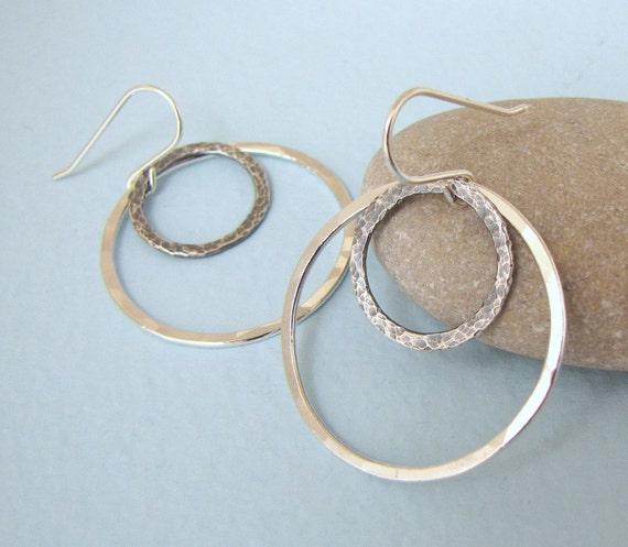 Hammered Hoop Earrings Silver Circle Earrings Double Hoop Earrings