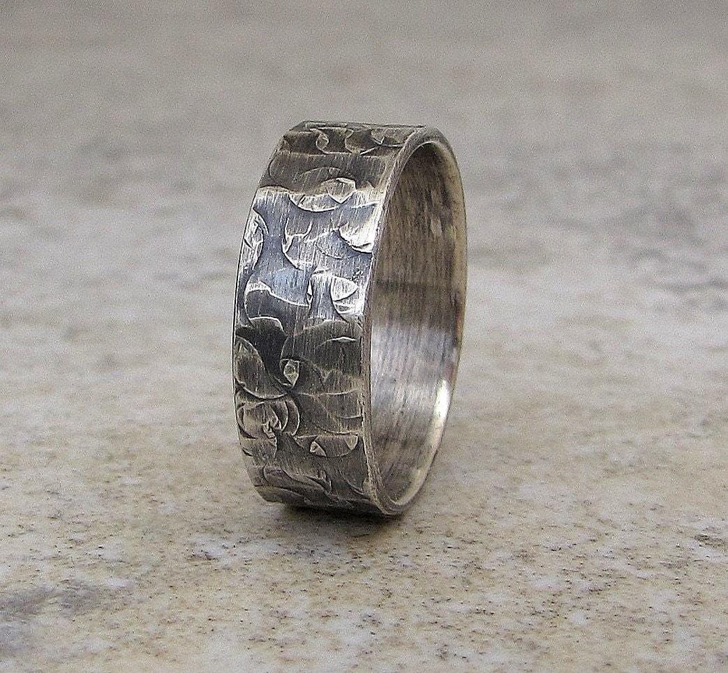 mens rustic wedding band wedding ring mens hammered wedding bands zoom