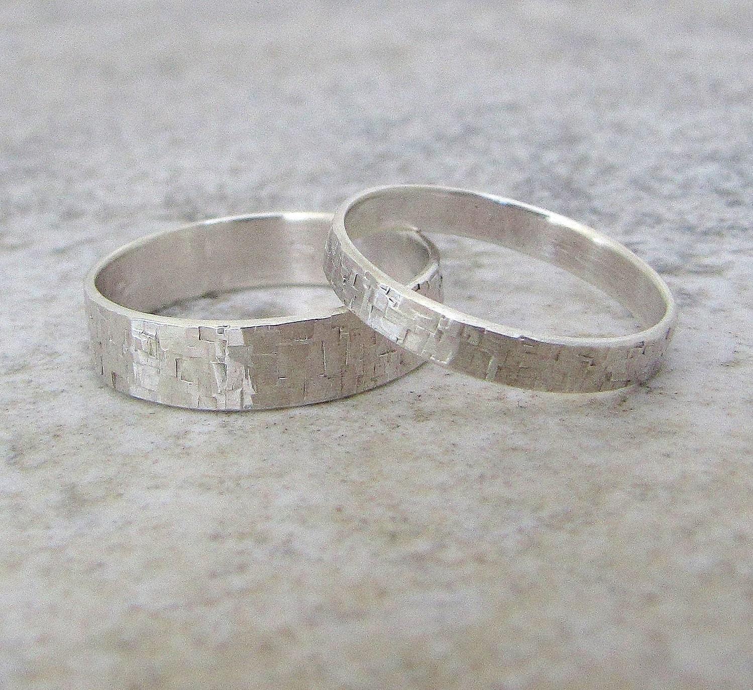 engraved silver wedding bands hammered silver wedding rings. Black Bedroom Furniture Sets. Home Design Ideas