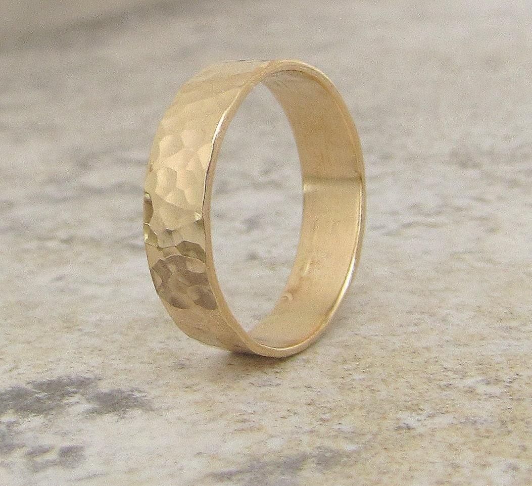 Mens Wedding Band Gold Wedding Ring Gold Rustic Gold Wedding