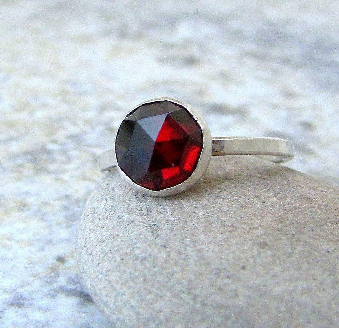 Garnet Bands: Silver Garnet Ring Solitaire Rose Cut Garnet Ring Engagement
