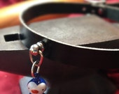 Cute Penguin  Bell on Black Leather Choker
