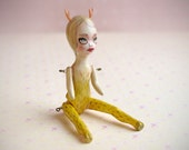 Miniature ooak art doll. Deer Girl - wild woodland creature diorama.art by KarolinFelix