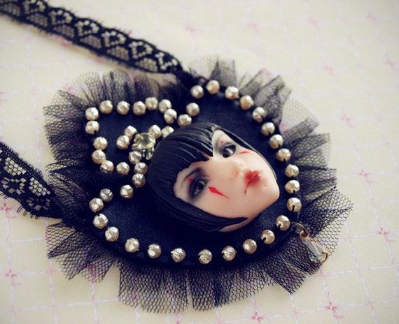 sale - Queen of the Damned - black goth Neck Piece with tulle and vintage pearls. Vampire necklace by KarolinFelix