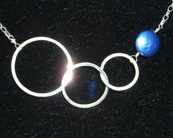 Triple Circle Fine Silver Fusion Necklace with Blue Coin Pearl