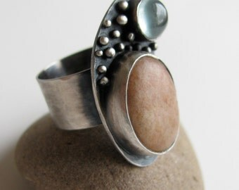 SALE 30% OFF sterling silver ring with pink beach stone and aquamarine