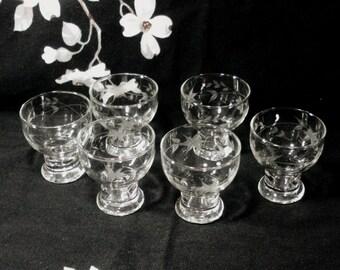 Vintage Set of 6 Etched Flower Juice Glasses